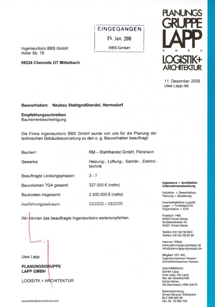 Ingenieurbüro BBS GmbH - Empfehlungsschreiben